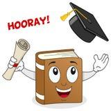 Carácter del libro con el sombrero de la graduación stock de ilustración