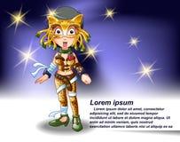 Carácter del luchador de la muchacha en estilo de la historieta stock de ilustración
