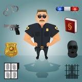 Carácter del policía con los iconos Imagen de archivo libre de regalías