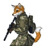 Car?cter del soldado del Fox Ilustraci?n del vector aislada en el fondo blanco fotografía de archivo libre de regalías