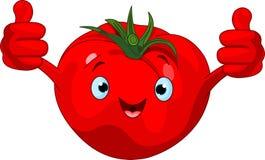 Carácter del tomate que da los pulgares para arriba Foto de archivo libre de regalías