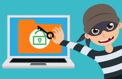 Carácter del vector del pirata informático y del ladrón de ordenador que intenta cortar y tener acceso a la información de la cla libre illustration