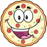 Carácter divertido de la mascota de la historieta de la pizza Imagen de archivo