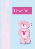 Carácter divertido de un oso que se sostiene en las patas de un corazón grande stock de ilustración