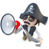 carácter divertido del capitán del pirata de la historieta 3d que grita a través de un megáfono Fotos de archivo libres de regalías