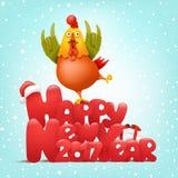 Carácter divertido del gallo Tarjeta de la invitación del concepto del Año Nuevo libre illustration