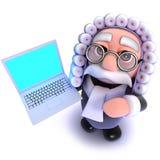carácter divertido del juez de la historieta 3d que lleva a cabo un dispositivo de la PC del ordenador portátil Imagen de archivo libre de regalías