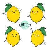 Carácter divertido del limón de la historieta con diversas emociones en la cara Etiquetas engomadas cómicas del emoticon fijadas  Imagenes de archivo