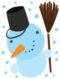 Carácter divertido del muñeco de nieve de la Navidad Foto de archivo libre de regalías