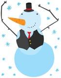 Carácter divertido del muñeco de nieve de la Navidad Imágenes de archivo libres de regalías