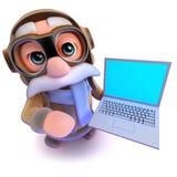 carácter divertido del piloto de la línea aérea de la historieta 3d que sostiene un ordenador de la PC del ordenador portátil Imagen de archivo