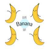 Carácter divertido del plátano de la historieta con diversas emociones en la cara Etiquetas engomadas cómicas del emoticon fijada Foto de archivo libre de regalías