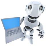 carácter divertido del robot de la historieta 3d que lleva a cabo un dispositivo del ordenador de la PC del ordenador portátil Imagen de archivo libre de regalías