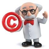 carácter enojado del científico 3d que lleva a cabo un símbolo de los derechos reservados imagenes de archivo