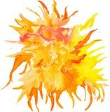 Carácter enojado del sol de la acuarela Imagen de archivo libre de regalías