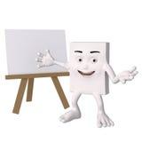 Carácter feliz con el caballete en blanco Imágenes de archivo libres de regalías