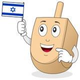 Carácter feliz de Dreidel con la bandera israelí imagen de archivo