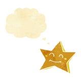 carácter feliz de la estrella de la historieta con la burbuja del pensamiento Foto de archivo libre de regalías