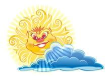 Carácter feliz de Sun ilustración del vector