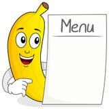 Carácter feliz del plátano con el menú en blanco Fotografía de archivo libre de regalías