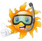 Carácter feliz del sol de la historieta en la máscara del salto que da los pulgares para arriba Imagen de archivo libre de regalías