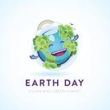 Carácter feliz lindo de la tierra para una causa ambiental ilustración del vector