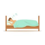Carácter feliz que duerme en su cama, ejemplo de reclinación del hombre del vector de la gente libre illustration