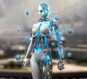 Carácter femenino del cyborg Imagen de archivo