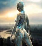 Carácter femenino del cyborg imagenes de archivo