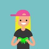 Carácter femenino joven que juega con un limo/completamente editable ilustración del vector