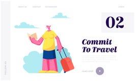 Carácter femenino turístico mayor con el mapa de observación del equipaje en viaje de la ciudad, mujer mayor que busca manera cor stock de ilustración