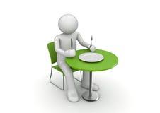 Carácter hambriento que espera una comida ilustración del vector