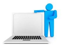 carácter humano 3d apoyado por el ordenador portátil Fotos de archivo libres de regalías