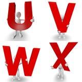 carácter humano 3D que lleva a cabo la letra roja U, V, W, X