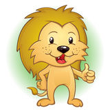 Carácter joven de Cub de león que da los pulgares para arriba Fotografía de archivo