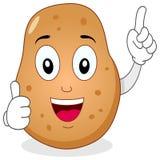 Carácter lindo de la patata con los pulgares para arriba Foto de archivo