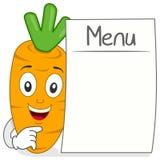 Carácter lindo de la zanahoria con el menú en blanco Imágenes de archivo libres de regalías