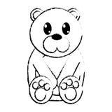 Carácter lindo del animal salvaje del oso del Grunge Imagen de archivo
