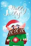 Carácter lindo del duende de Holly Jolly Merry Christmas Banner Green en el cartel de las vacaciones de invierno Imágenes de archivo libres de regalías