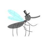 Carácter lindo del mosquito de la historieta en un ejemplo del vector del sombrero negro Imagenes de archivo