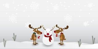Carácter lindo del reno de la historieta en fondo del copo de nieve del invierno Tarjeta de felicitación por Feliz Navidad y Feli stock de ilustración