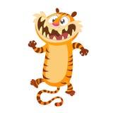 Carácter lindo del tigre de la historieta Colección del animal salvaje Madre y bebé en la educación de la sesión Aislado Fondo bl foto de archivo