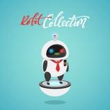 Carácter lindo en estilo plano Primeros auxilios del robot divertido de la historieta, policía Foto de archivo libre de regalías