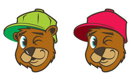 Carácter marrón fresco del oso del hip-hop de la historieta con el casquillo ilustración del vector