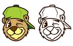 Carácter marrón fresco del oso del hip-hop de la historieta con el casquillo stock de ilustración