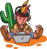 Carácter mexicano de la historieta con el ordenador portátil stock de ilustración