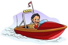 Carácter moreno del muchacho de la historieta en el barco de motor rojo ilustración del vector