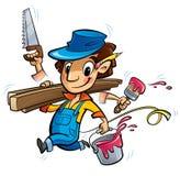 Carácter ocupado del carpintero de la historieta que hace muchas cosas al mismo tiempo Fotografía de archivo libre de regalías