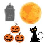 Carácter para el día de Halloween en el fondo blanco, gato negro lindo de la historieta, calabaza, luna Fotografía de archivo