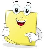 Carácter pegajoso de la nota del post-it amarillo Imagenes de archivo